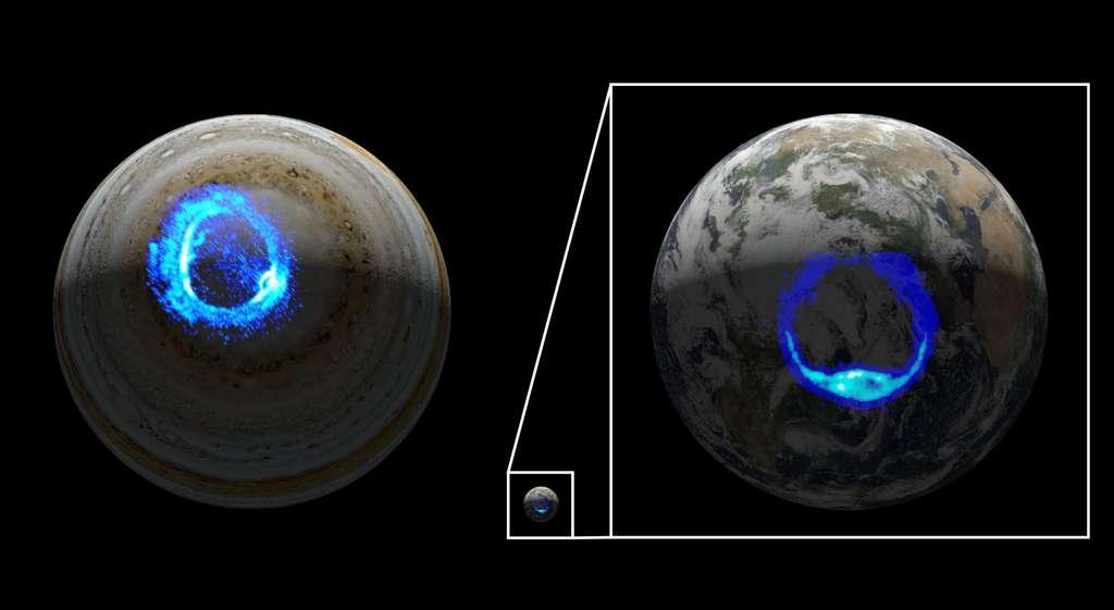 Vues artistiques des aurores ultraviolettes sur Jupiter (à gauche) et la Terre (à droite). Basée sur l'observation d'une tempête aurorale à l'aube sur Jupiter à partir de Juno et d'un sous-orage à partir du vaisseau spatial Image, cette illustration montre les similitudes entre les deux formes aurorales. © Nasa/JPL-Caltech/SwRI/UVS/STScI/Modis/WIC/Image/ULiège