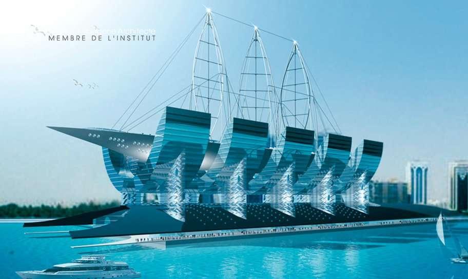 Un bâtiment-navire à Abou Dhabi