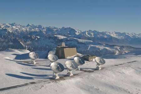 Le radiotélescope utilisé pour les observations de la galaxie J1148+5251: l'interféromètre de l'IRAM au Plateau de Bure dans les Alpes françaises. Crédit : IRAM/Rebus
