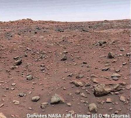 Cette image de Mars a fait le tour du monde sur la couverture des journaux ! Réalisant leur bévue, les scientifiques demandent alors que soit réalisé un ajustement manuel de la balance des couleurs sur les écrans TV dans les salles... © Données Nasa/JPL/Image © O. de Goursac.