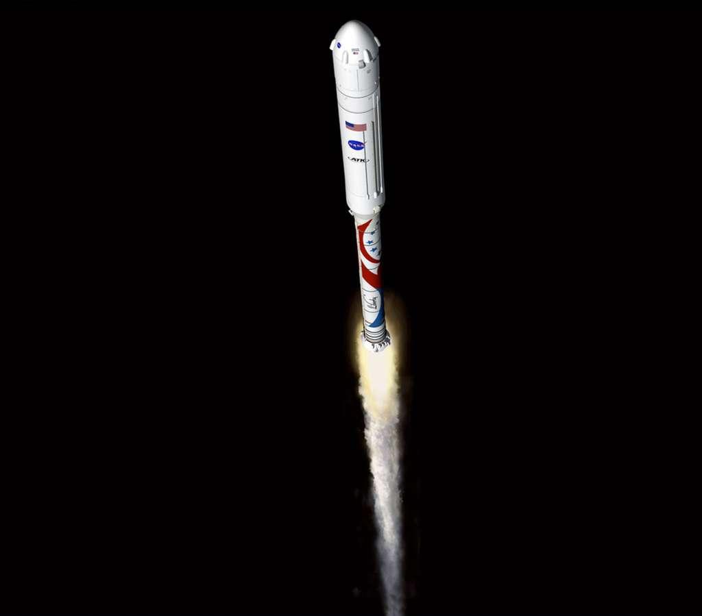 Si la Nasa sélectionne le lanceur Liberty pour la troisième phase de CCDev, un premier vol d'essai inhabité est prévu dès 2014, suivi d'un vol habité en 2015. © ATK
