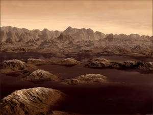 Vue d'artiste de lacs de méthane et d'éthane sur la surface de Titan. © Karl Kofoed