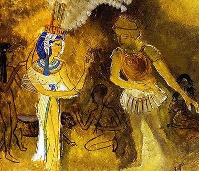 Illustration montrant Antoine, lieutenant de César, déclarant sa flamme à Cléopâtre, reine d'Egypte célèbre pour sa beauté. Cependant, aucune des milliards de cellules dont est fait Antoine n'est au courant…