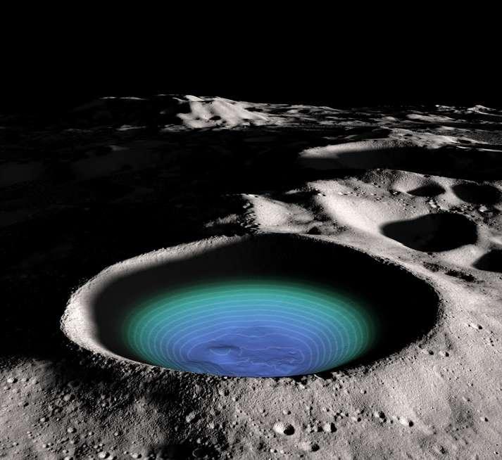 Le Lunar Orbiter Laser Altimeter a permis de dresser une carte topographique du fond du cratère Shackleton. © Nasa/GSFC/SVS