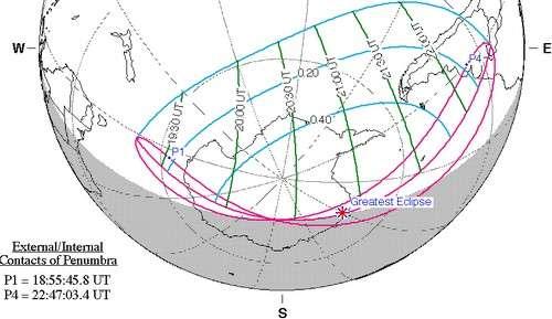 Visibilité de l'éclipse partielle de Soleil du 15 février 2018