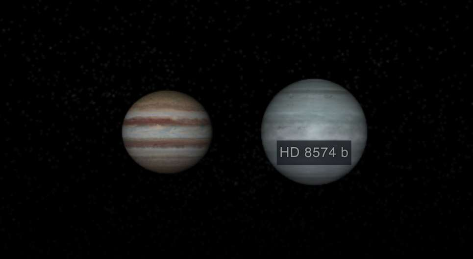 Représentation hypothétique de HD 8574b et comparaison avec Jupiter, la grosse planète du Système solaire. © Nasa