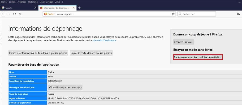 Passer en mode sans échec permet de voir si le navigateur est plus rapide sans les modules complémentaires. © Mozilla Foundation