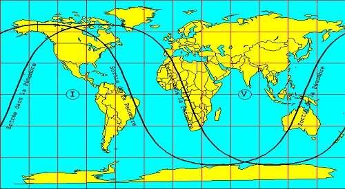 Zone de visibilité de l'éclipse pénombrale de Lune du 10 Janvier 2020.