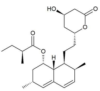 Structure biochimique de la lovastatine, la première statine commercialisée. Source : téléchargé depuis Wikipedia (article anglais sur les statines), domaine public.