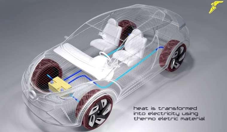 Le projet de pneu à récupération d'énergie de Goodyear associerait des composants thermoélectriques et piézoélectriques incorporés dans la carcasse. Ils capteraient ainsi la chaleur produite par l'échauffement et la déformation du pneu. Reste à savoir quelle quantité d'électricité pourrait être tirée d'un tel système. © Goodyear