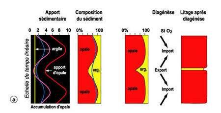 a et b. Variations des apports en silice (a) ou en argile (b), autre composant constant. La ligne en hachures illustre l'effet, hypothétique, d'un taux de conservation constant de la silice indépendamment de l'apport.
