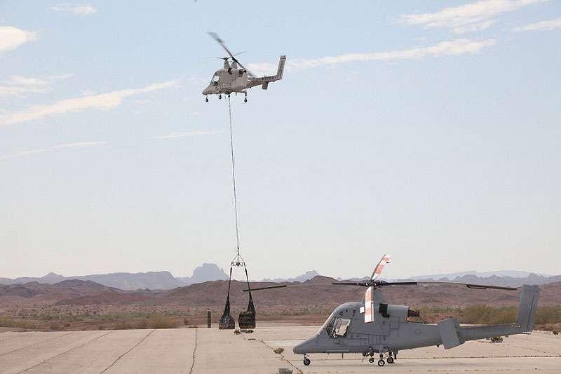 Lorsqu'il faut ravitailler les troupes en équipement lourd, le K-Max de Lockheed est le drone de choix. Il peut transporter plus de 2,7 tonnes ! © Lockheed
