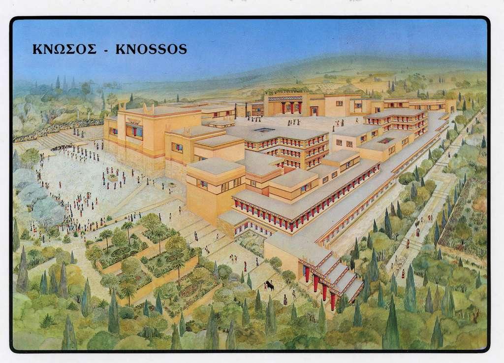 Reconstruction du palais de Cnossos, épicentre de la culture minoenne 1.600 ans avant J.-C. © Mmoyaq, Wikipédia