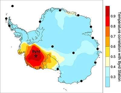 La carte présentée par cette nouvelle étude. Elle montre la corrélation (au sens statistique du terme) entre les mesures effectuées à la station Byrd et le reste du continent antarctique. Cette nouvelle estimation a permis de tracer une nouvelle courbe de l'évolution des températures entre 1957 et 2010, indiquant un réchauffement plus important que prévu de la partie occidentale de l'Antarctique. © Julien Nicolas / Ohio State University