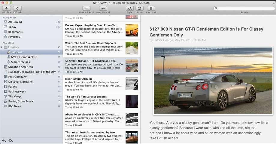 NetNewsWire4 pour Max OS X est disponible en version bêta. Son éditeur travaille sur une application mobile pour iOS. © Marc Zaffagni, Futura-Sciences