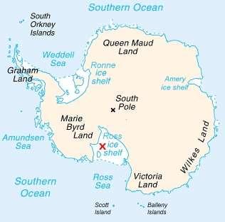 Carte de l'Antarctique. La croix rouge indique la banquise qui a été choisie pour suivre l'évolution de l'épaisseur de la couche de glace durant plusieurs mois. © Wikipedia, domaine public