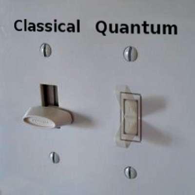 Une illustration d'un interrupteur classique contre un interrupteur quantique imaginaire. © Fermilab