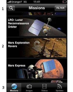 (1) Une barre de recherches ; (2) une liste défilante des différents programmes de la Nasa ; (3) un menu permettant de visualiser les missions, images, vidéos et flux RSS. © Futura-Techno