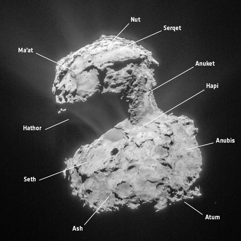 La comète Tchouri photographiée par la caméra de navigation de Rosetta, le 14 mars 2015, à 85,7 km de distance. La région Ma'at, où se posera Rosetta le 30 septembre, se situe sur le plus petit des deux lobes du noyau cométaire. © Esa, Rosetta, NavCam, CC BY-SA IGO 3.0