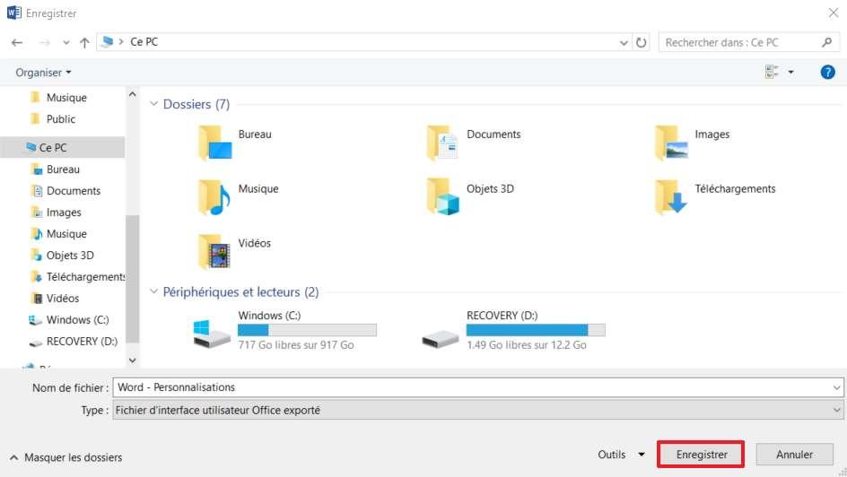 Sélectionnez l'emplacement de destination du fichier de personnalisation. © Microsoft