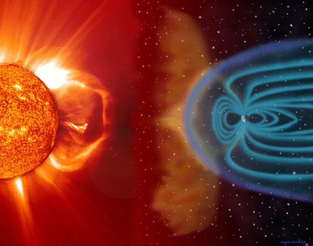 Cette vue d'artiste illustre les connexions entre le Soleil et la Terre, à la suite d'une violente éjection de masse coronale (bulle de plasma produite dans la couronne solaire). Des particules solaires chargées sont transportées par le vent solaire avant de s'engouffrer dans les lignes du champ magnétique de la Terre, et entrent en collision avec des atomes de la haute atmosphère. © Soho, Esa, Nasa