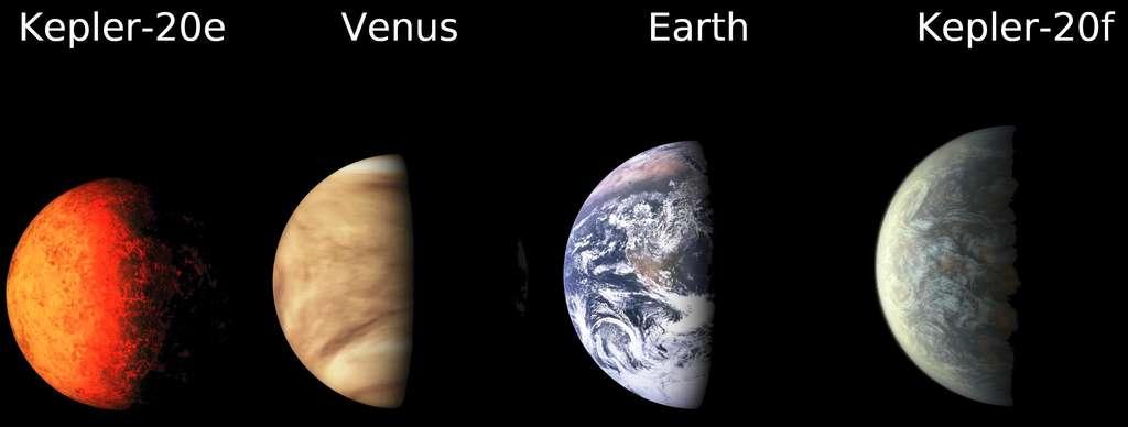 Un montage montrant les tailles, respectivement de gauche à droite de Kepler 20e, Vénus, la Terre et Kepler 20f. Les exoplanètes représentées ne sont que des vues d'artiste. © Nasa/Ames/JPL-Caltech