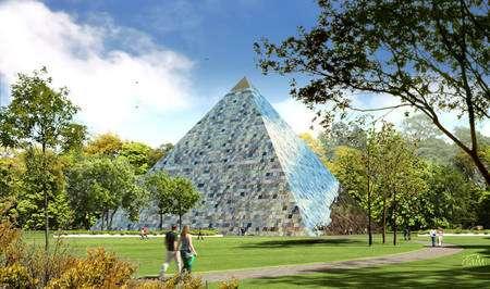 Représentation de la future pyramide du projet Earth Pyramid. Celle-ci est destinée à recueillir des messages d'enfants du monde entier. © Earth Pyramid