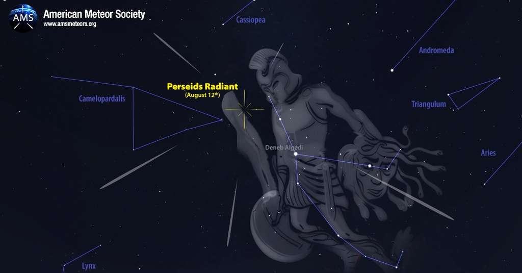 Position du radiant des Perséides au sein de la constellation de Persée, le 12 août. © AMS