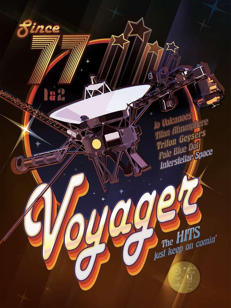 Une touche vintage et disco pour cette affiche fêtant le 40e anniversaire du lancement de Voyager 1 et 2. © Nasa, JPL-Caltech
