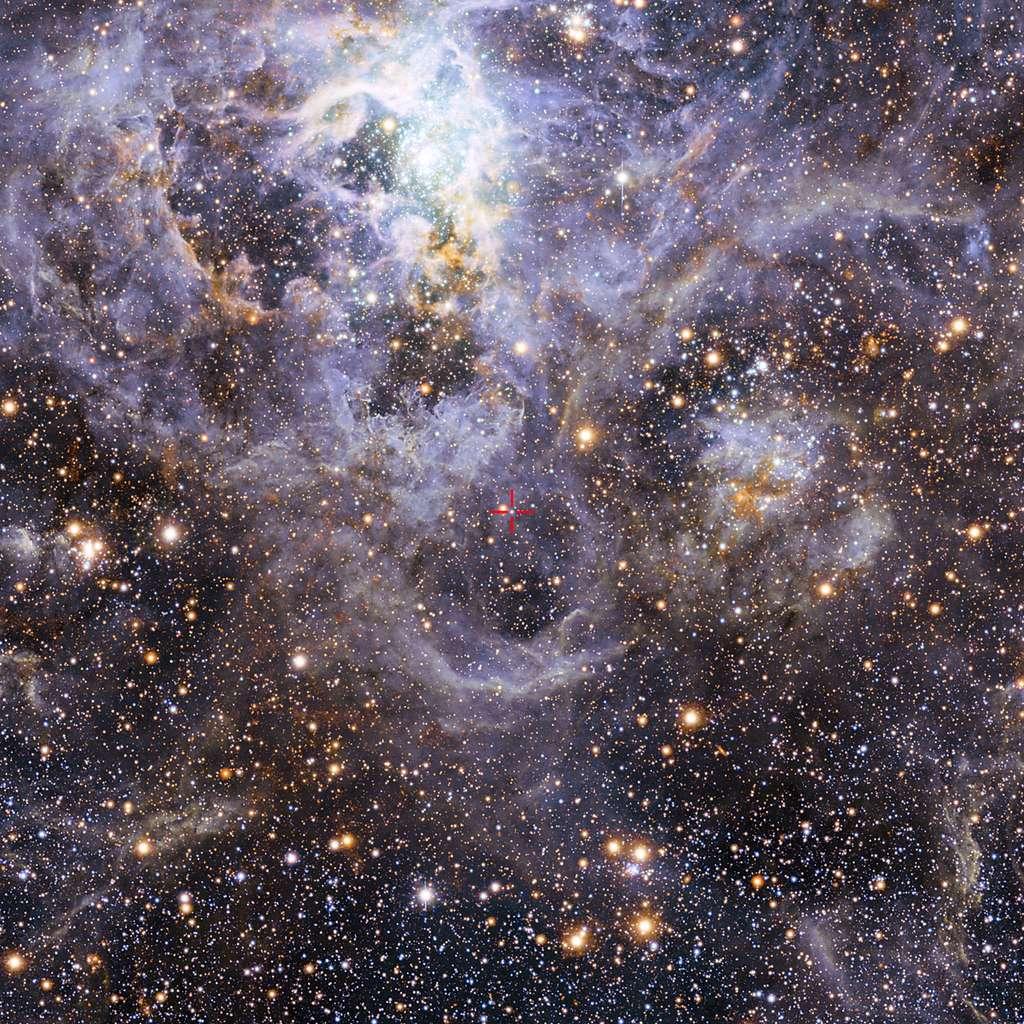 La croix rouge au centre indique la position de la paire d'étoiles très chaudes et massives VFTS 352 au sein de la vaste nébuleuse de la Tarentule dans le Grand Nuage de Magellan, galaxie naine voisine de 160.000 années-lumière de la Terre. Cet étrange système de « binaires en contact » s'achemine certainement vers une fin dramatique : soit la fusion en une unique étoile géante, soit la formation d'un trou noir binaire. Image composite acquise dans le visible par la caméra à grand champ du télescope MPG/ESO de 2,2 mètres à La Silla et dans l'infrarouge avec le télescope Vista de 4,1 mètres, au sommet du mont Paranal. © Eso, M.-R. Cioni, Vista Magellanic Cloud survey