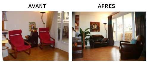 Les propriétaires de cet appartement n'utilisaient pas de salon mais ces deux fauteuils rouges (image de gauche). Difficile d'imaginer comment installer un salon pour les visiteurs ! D'où la mise en place d'un vrai salon afin de mettre en valeur les volumes et faciliter le travail de projection du futur acheteur. © Yasmine Médicis pour Mon Home Staging