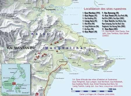 Localisation des sites rupestres (est de Bornéo ; à l'ouest de Sulawesi et de la ligne de Wallace). (Cliquez en bas à droite pour agrandir l'image.)