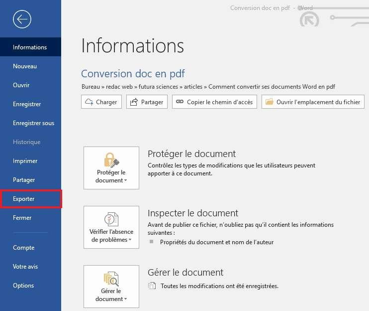 Sélectionnez «Exporter» dans le menu. © Microsoft