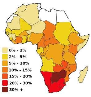 Pourcentage d'adultes de 15 à 49 ans touchés par le VIH-Sida. Les données datent pour la plupart de 1999. Le Botswana se trouve au nord de l'Afrique du Sud. © Sasha Noyes 2004, Wikimedia Commons, cc by sa 3.0