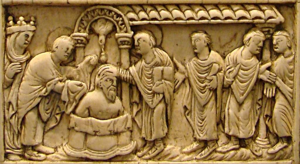 Clovis fut baptisé le 25 décembre 498 à Reims par Saint Rémi. © Pethrus, Wikimedia Commons, Domaine Public