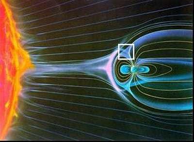 Magnétosphère terrestre et vent solaire (crédit : ESA)