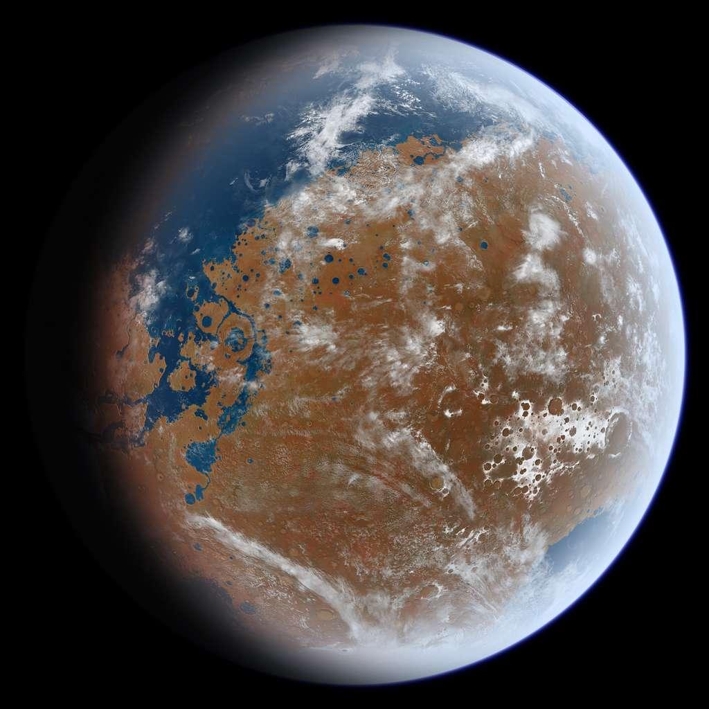 Une vue d'artiste de ce à quoi la planète Mars a pu ressembler par le passé. © Ittiz, Wikipedia Commons, CC by-sa 3.0