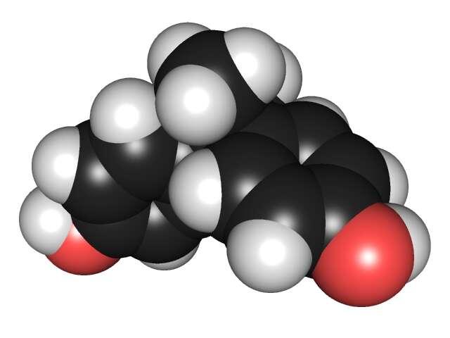 Le bisphénol A a pour formule brute C15H16O2. Il tient son nom des deux cycles phénols qui le composent. © Edgar181, Wikipédia, DP