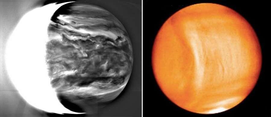 À gauche : l'atmosphère striée de nuages d'acide sulfurique dépeinte dans l'infrarouge par la caméra IR2 d'Akatsuki. À droite : une étrange formation en arc de cercle relie les deux pôles de Vénus et progresse au même rythme que la planète (rotation de 243 jours) et non de l'atmosphère très rapide (4 jours). Son origine est encore mystérieuse. © Jaxa