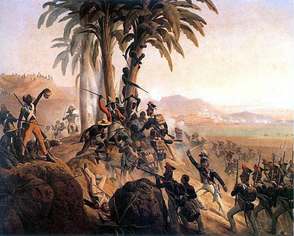 """Tableau """"Bataille de Saint Domingue"""", révolte des esclaves, par January Suchodolski en 1845. Musée National de Pologne, Varsovie. © Wikimedia Commons, domaine public."""