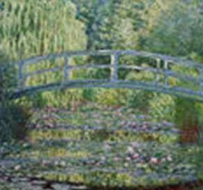 Le pont japonais, Claude Monet. Dans le jardin de Giverny, Monet avait un bassin au-dessus duquel se trouvait un pont en bois. Ce pont a été représenté dans un grand nombre de tableau sous le nom de « pont japonais ». Museum de Philadelphie. © Wikimedia Commons, domaine public