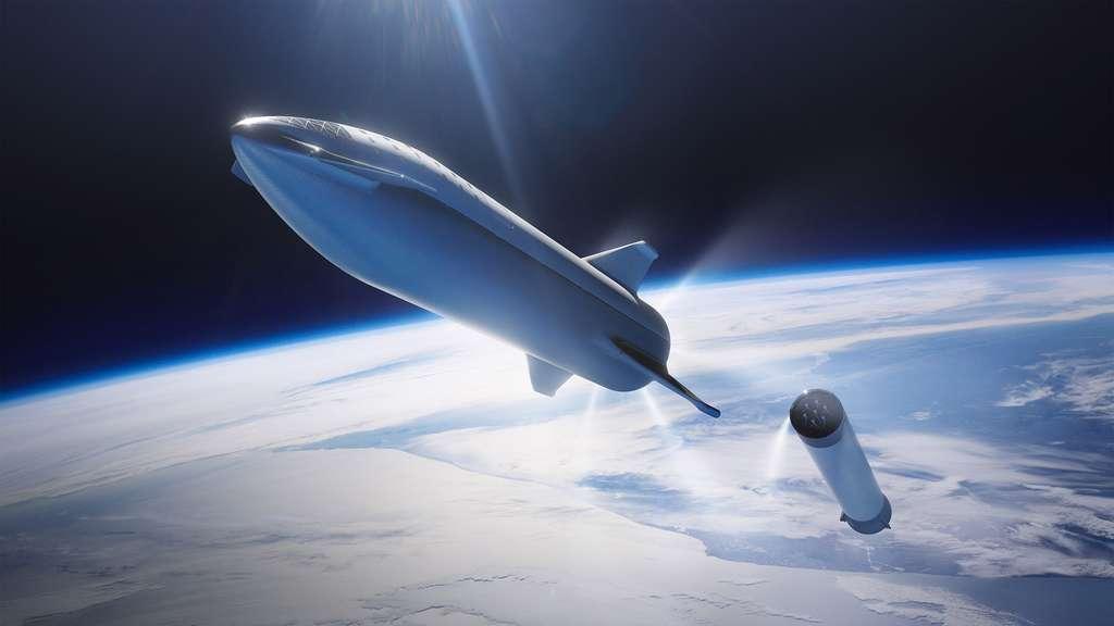 Vue d'artiste du BFR, un lanceur réutilisable à deux étages capable de transporter une centaine de passagers. © SpaceX