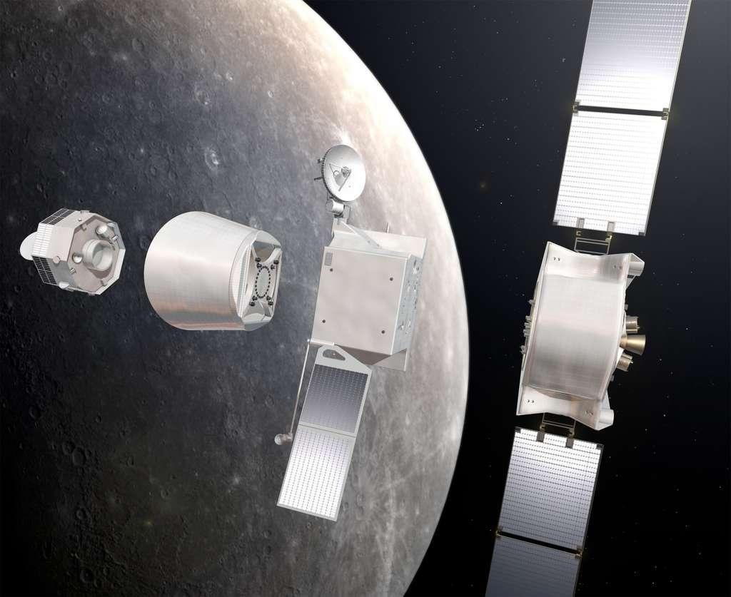 Novembre 2020, la sonde arrive autour de Mercure. Les différents modules se séparent les uns des autres. L'étage de croisière qui a transporté l'ensemble jusqu'à Mercure est éjecté dans l'espace en se séparant des orbiteurs MPO et MMO. © Esa/AOES Medialab