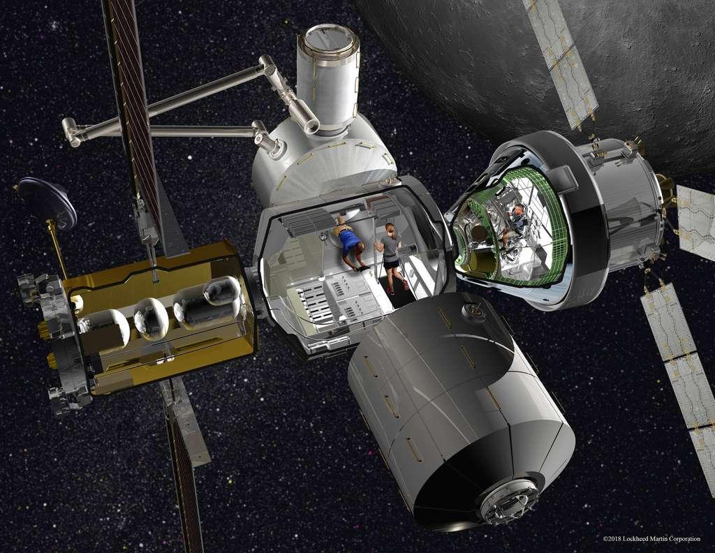 Concept de poste avancé lunaire, étudié par Lockheed Martin et Thales Alenia Space. © Lockheed Martin