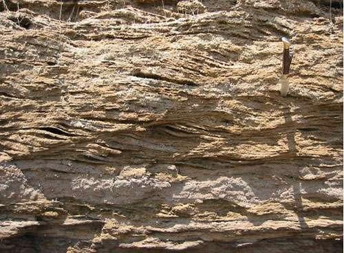 Figures sédimentaires (tidalites) dans les sédiments argilo-gréseux miocènes de la région d'Iquitos (Pérou), © IRD/ P. Baby Reproduction et utilisation interdites