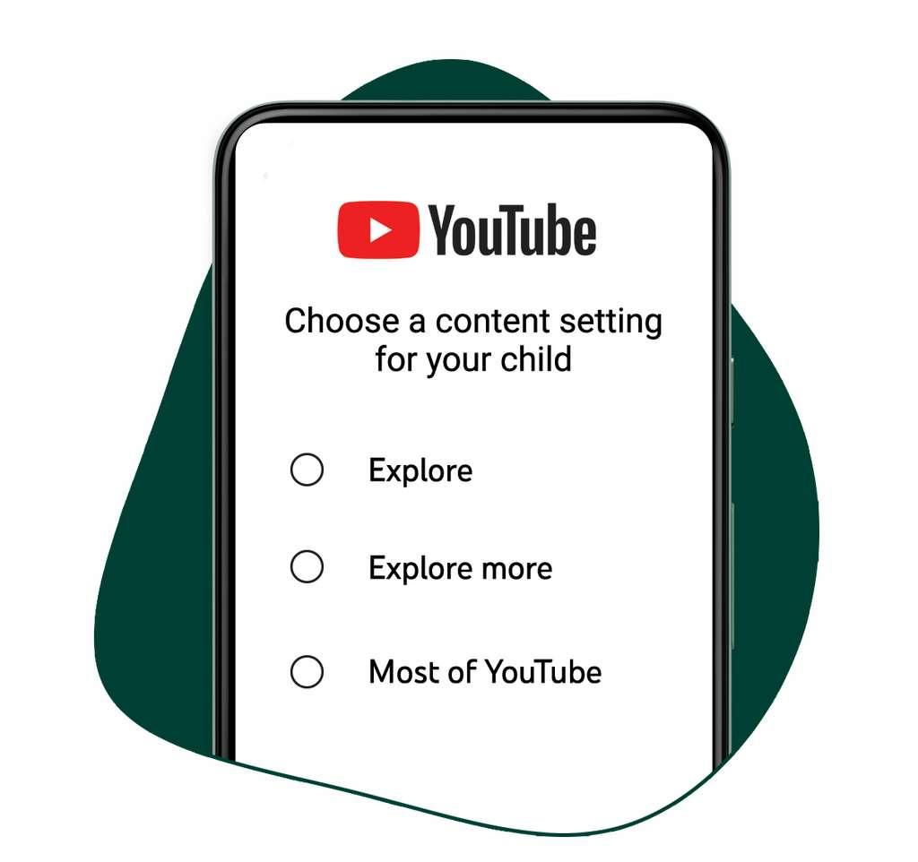 Voici les trois options de filtrage proposées aux parents. © YouTube
