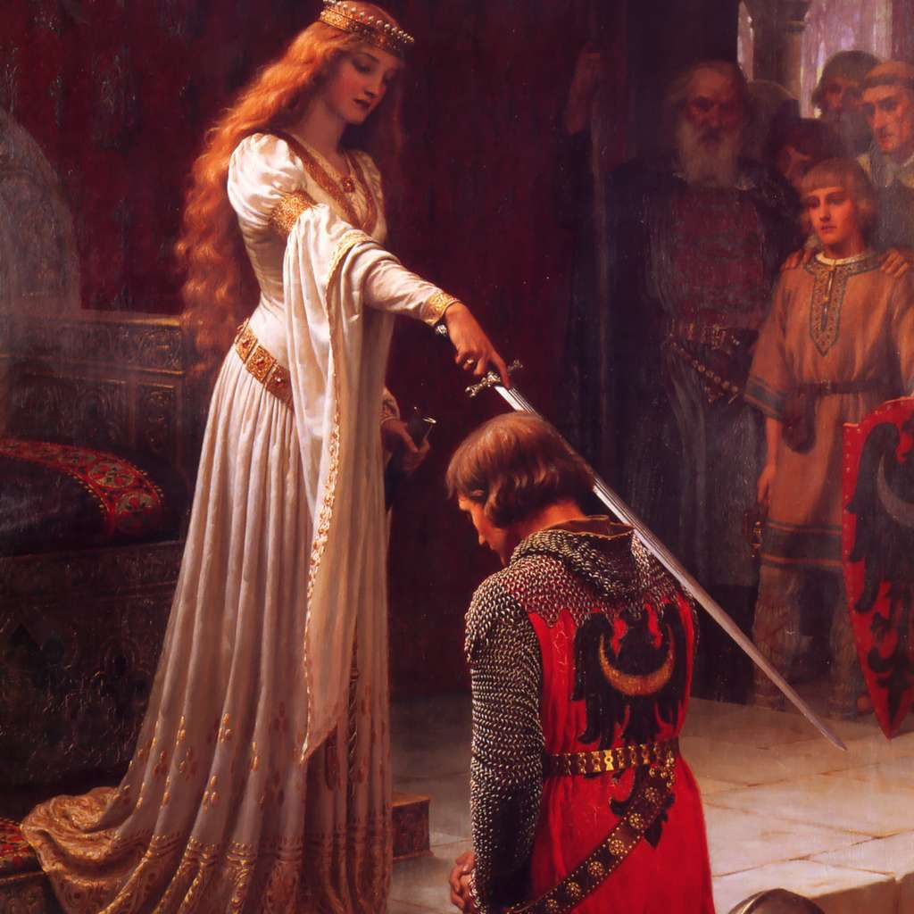 L'Adoubement, huile sur toile peinte en 1901 par Edmund Blair Leighton. L'adoubement des chevaliers du Moyen Âge a lieu environ quatre ans après l'apprentissage en tant qu'écuyer. © Art Renewal Center Museum, Wikimedia Commons, DP