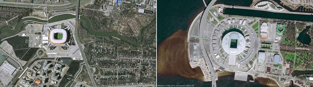 À gauche, le stade de Mordovie situé à Saransk dont la construction a débuté en 2010. À droite, le stade de Krestovski de la ville de Saint-Pétersbourg (2007). © Pléiades, Cnes 2018, Distribution Airbus DS