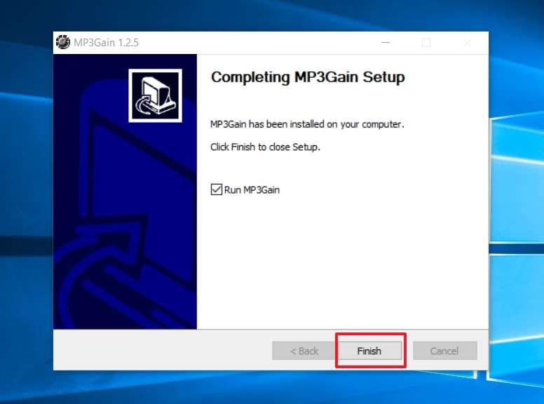 Cliquez sur «Finish» pour que MP3Gain démarre immédiatement. © MP3Gain