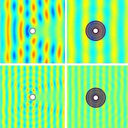 Les simulations des dispositifs imitant les métamatériaux, constitués d'anneaux concentriques, montrent qu'il est possible de se protéger des séismes en déviant les ondes sismiques. Crédit : M. Farhat et al., PRL 103 (2009)